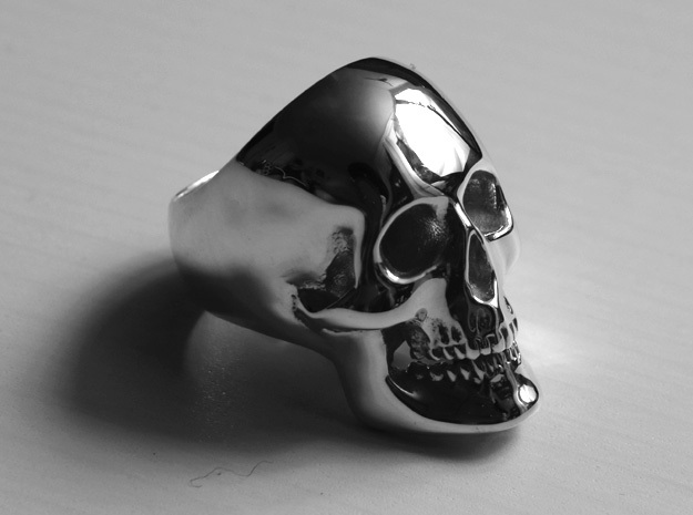 Heavy Skull Ring in Polished Silver