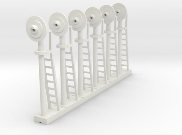 Signal Searchlight (x6) - HO 87:1 Scale in White Natural Versatile Plastic
