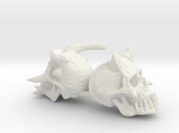 Demon Skulls X2 in White Natural Versatile Plastic