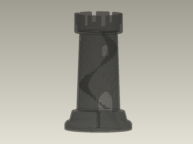 Rook W Staircase 4in Tall 3d printed transparent detail