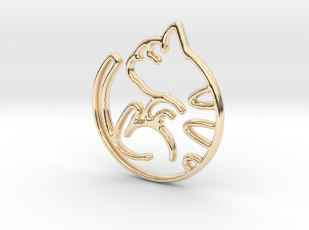 Kitty Cat Pendant in 14K Yellow Gold
