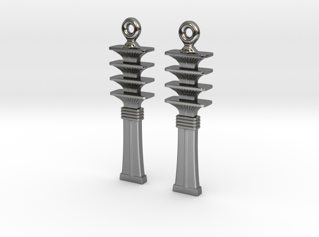 Djed EarRings - Pair - Precious Metal in Fine Detail Polished Silver