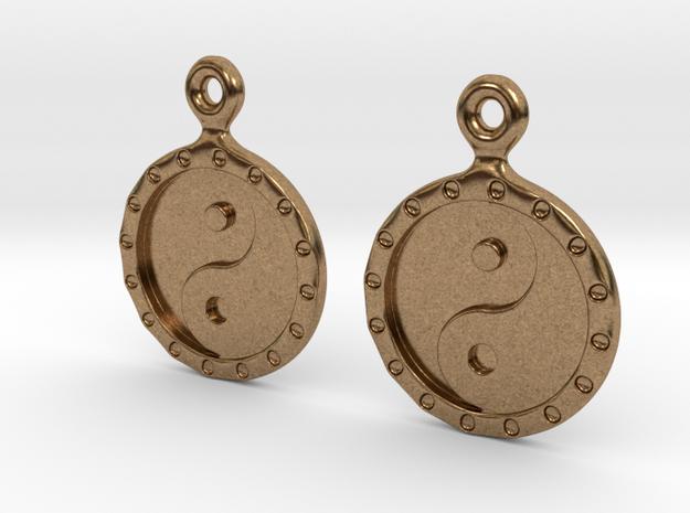 YinYang EarRings 1 - Pair - Metal in Natural Brass