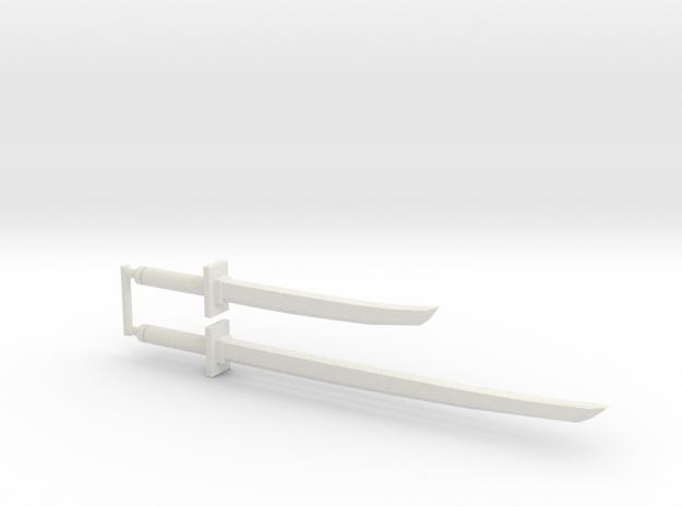 Katana and Wakizashi, 4mm Grip in White Natural Versatile Plastic