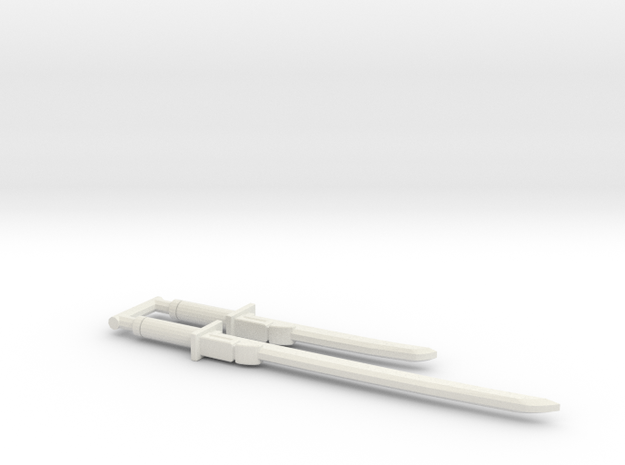 Bludgeon Swords (Katana and Wakizashi) 3mm Grip in White Natural Versatile Plastic