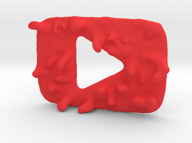 Distorted YouTube Play Button Award in Red Strong & Flexible Polished