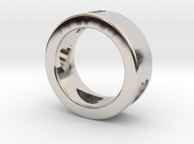 LOVE RING Size-7 in Rhodium Plated Brass