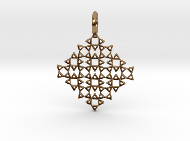 Square No.13 Pendant in Natural Brass