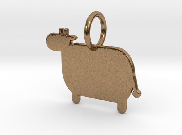 Cow Keychain in Natural Brass