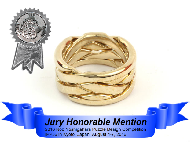 Wrap O-round Weave Five (WOW5) in Polished Brass (Interlocking Parts)