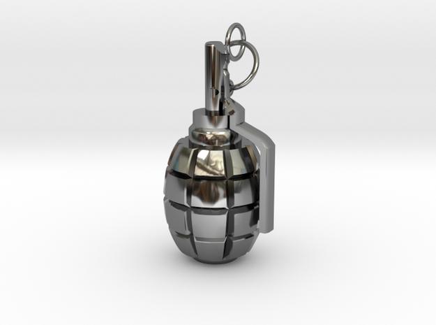 F1 granade pendant in Premium Silver