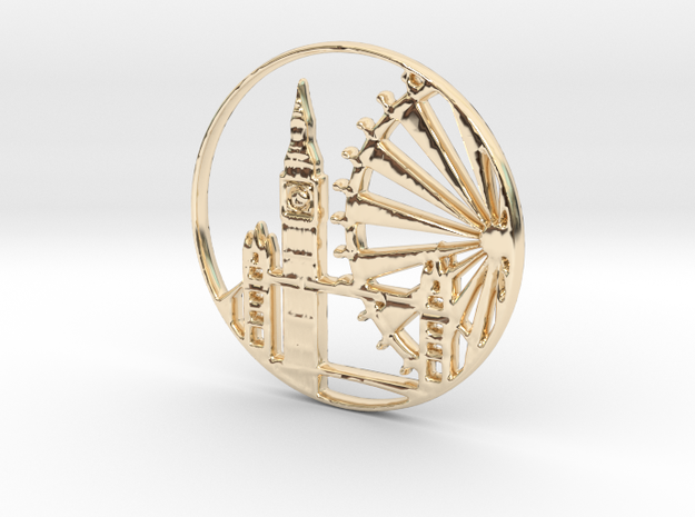 London Pendant in 14k Gold Plated Brass
