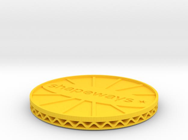 ^coaster shapeways 3d printed Shapeways Render - Yellow Strong & Flexible Polished