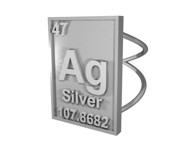 Silver Periodic Table Ring Size 6 Spiral Ring Band 3d printed CGI Render of The Silver Periodic Table Ring From The Top