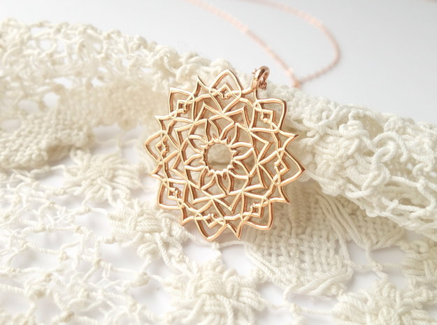 Mandala Pendant in 14k Rose Gold Plated Brass
