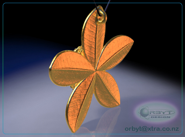 Rata Pod pendant ~ 47mm 3d printed Rata Pod 47mm pendant rear view raytraced render simulating gold plated brass material