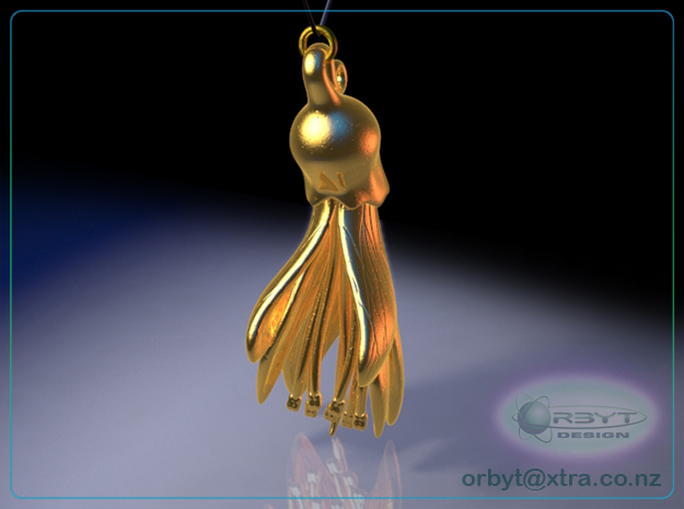 Kowhai Flower pendant ~ 47mm 3d printed Kowhai flower pendant rear view raytraced render simulating polished gold steel material