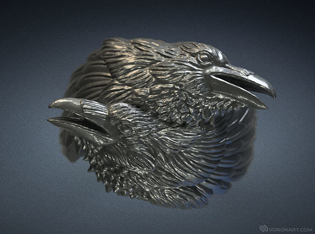 Two Ravens Ring 3d printed Digital preview. How your ring will look depends on kind of metal you chose