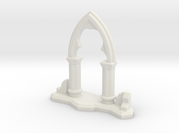 6mm Scale Gothic Arch Ruin in White Natural Versatile Plastic