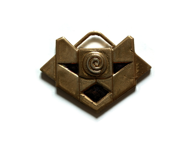 Atlantean Medallion of Nur Ab Sal 3d printed painted gold