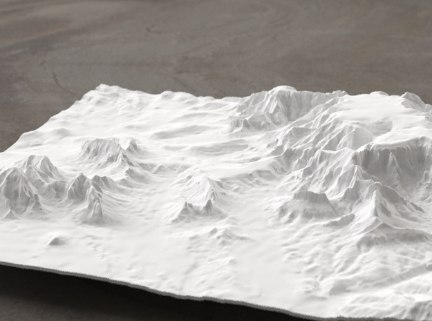 8'' Sedona Terrain Model, Arizona, USA 3d printed Radiance rendering of model, viewed from SSE