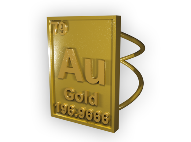 Gold Periodic Table Ring Size 6 3d printed CGI Render of The Ring From The Top