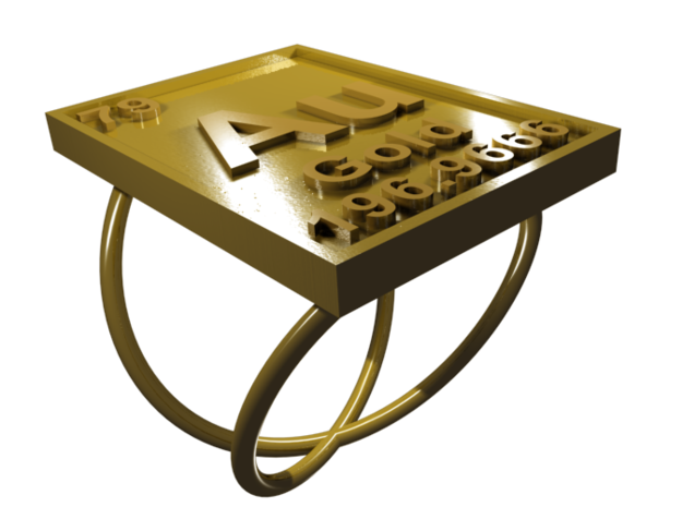 Gold Periodic Table Ring Size 6 in 18K Gold Plated