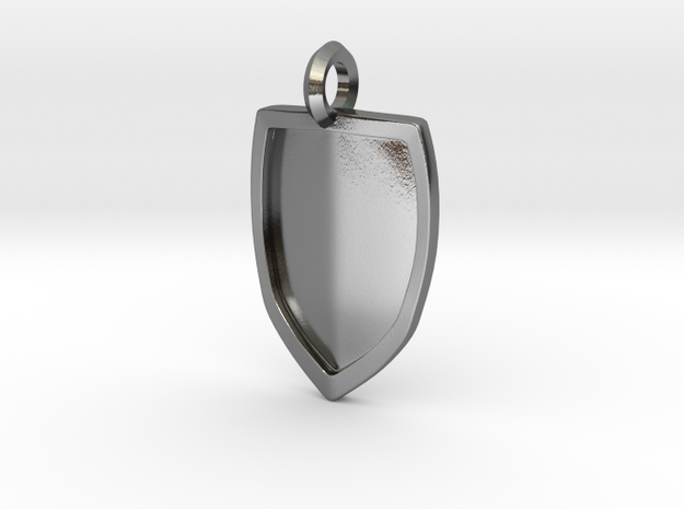 Strong Shield Pendant  in Polished Silver