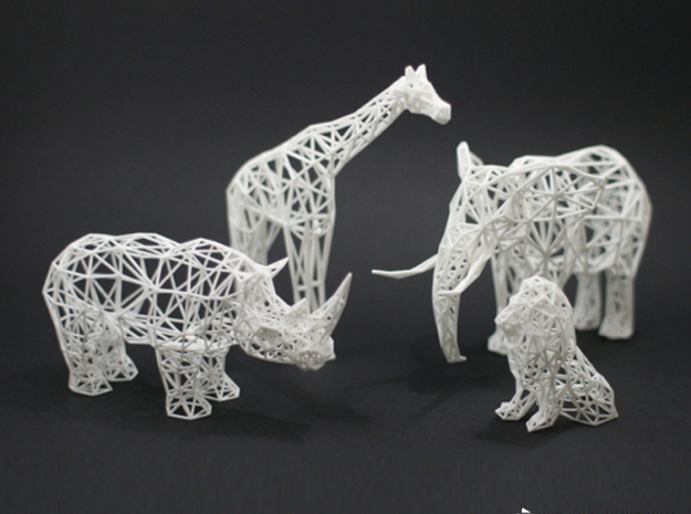 Digital Safari - Rhino (Medium) 3d printed Digital Safari Animals- Giraffe, Rhino, Elephant, Lion