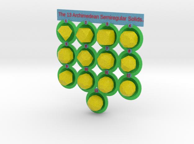 13 Archimedean Solids - colored in Full Color Sandstone