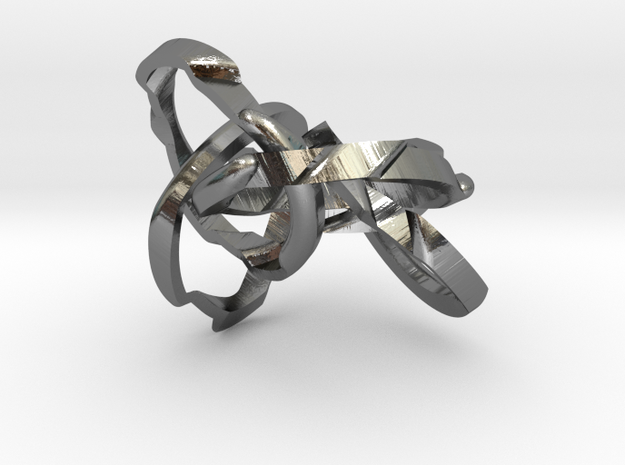 WOW5 Puzzle Ring in Interlocking Polished Silver: 11 / 64