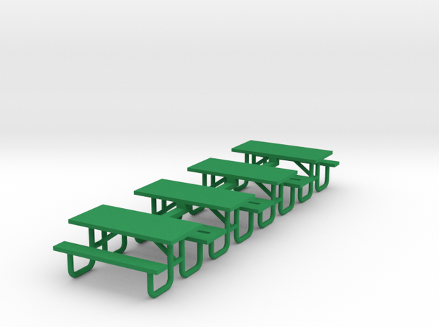 Picnic Table 6ft Metal Ftame - HO 87:1 Scale Qty ( in Green Processed Versatile Plastic