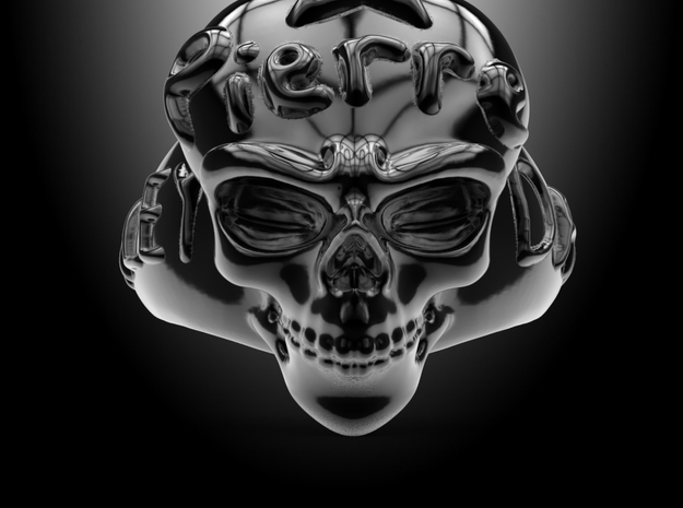Harley Davidson Skulls Ring With  Sculpting  Your  in Polished Bronzed Silver Steel