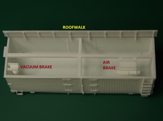HOn30 25 foot Boxcar 3d printed Brake parts are inside the body. Carefully remove these and the roofwalk.