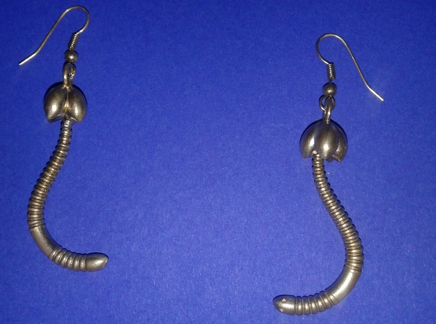 "d. ""Life of a worm"" Part 4 - ""Baby worm"" earrings in Natural Brass"