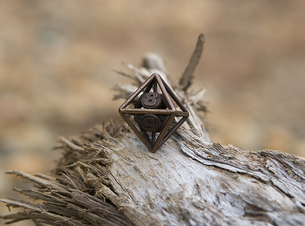 8-Sided Vector Die in Polished Bronzed Silver Steel