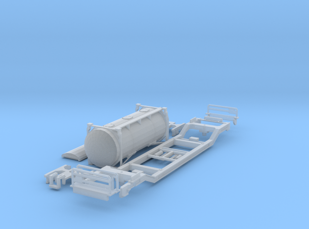 Low-floor container car w/bulk_cement in Frosted Ultra Detail