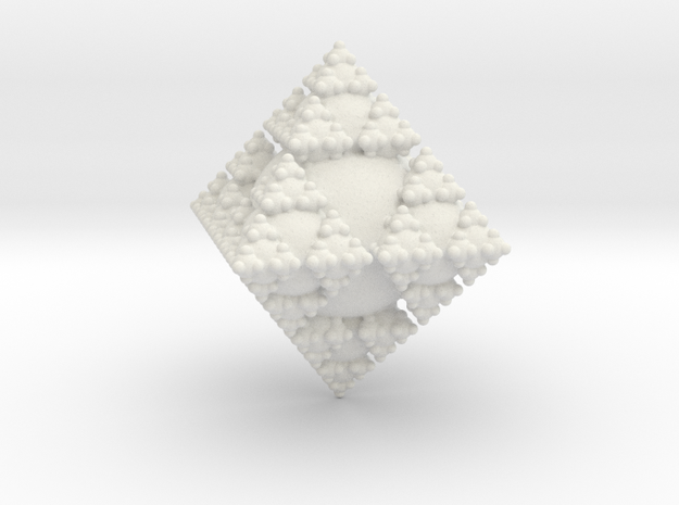 Sphere Diamond Fractal in White Natural Versatile Plastic