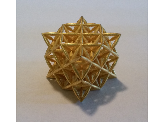 Flower Of Life 64 Tetrahedron Grid in Polished Gold Steel