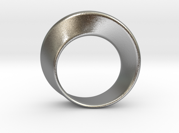 Mobius Strip Ring (Size 6) in Natural Silver: 6 / 51.5
