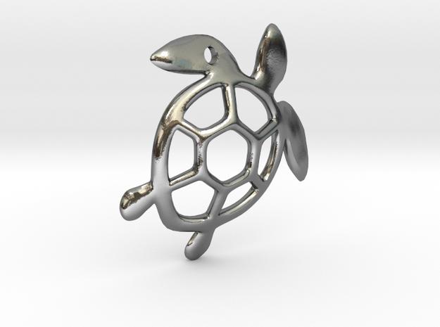 Sea Turtle Pendant in Polished Silver