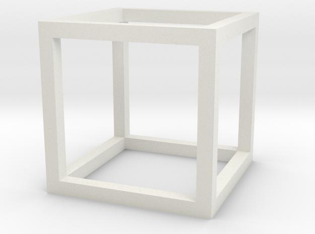 Cube (Hexahedron) in White Natural Versatile Plastic