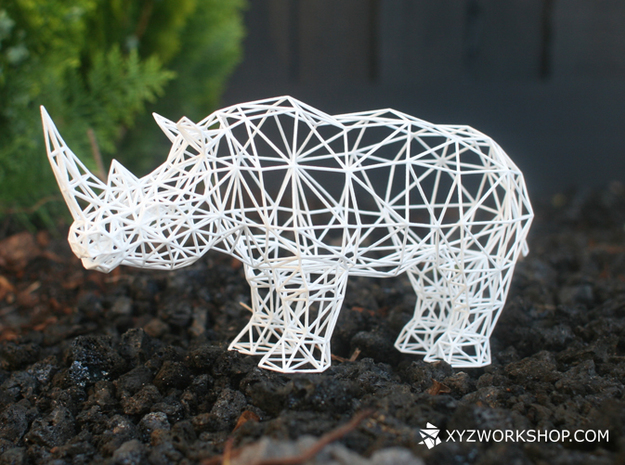 Digital Safari- Rhino (Large) in White Natural Versatile Plastic