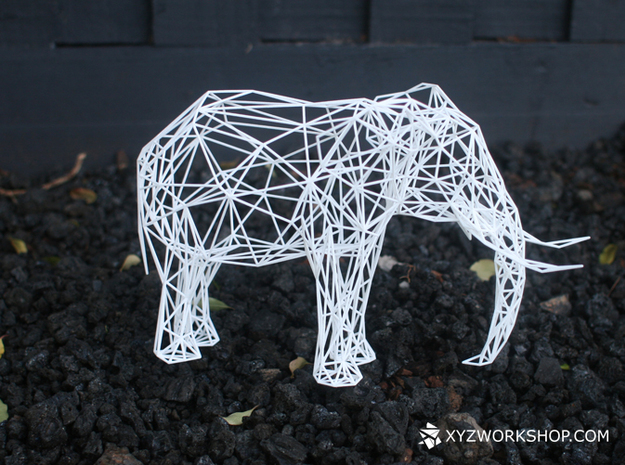 Digital Safari- Elephant (Medium) in White Natural Versatile Plastic