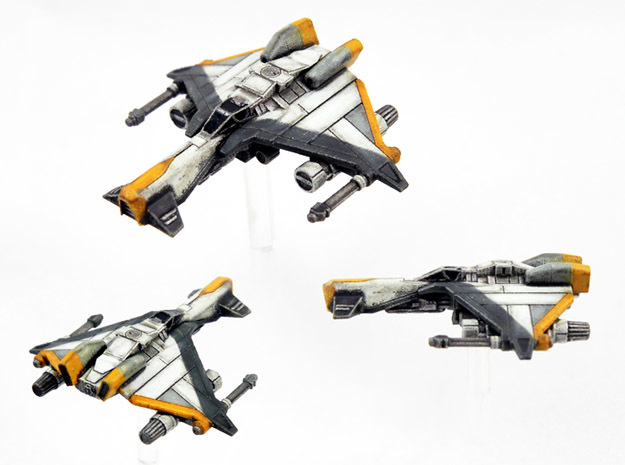 3-Pack Vaksai Fighter Variant 2AB 1/270 in Smoothest Fine Detail Plastic