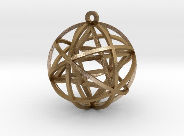 "Planetary Merkaba 1"" Pendant (w/bale) in Polished Gold Steel"