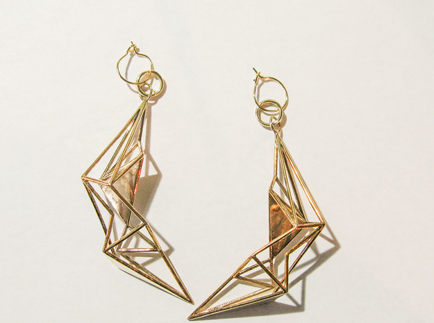 Earring_Sankaku in Polished Bronze