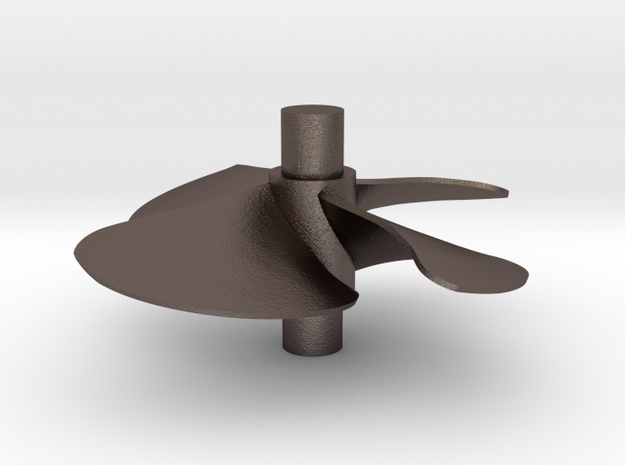 4 blade 5 inch left hand propeller  in Polished Bronzed Silver Steel