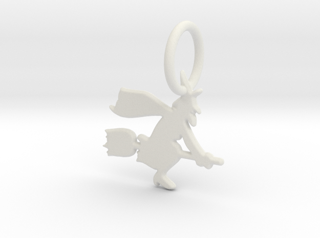 Witch Keychain in White Strong & Flexible