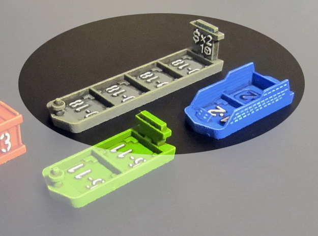 Cruise & Giant cargo ships (4 pcs) in Blue Processed Versatile Plastic